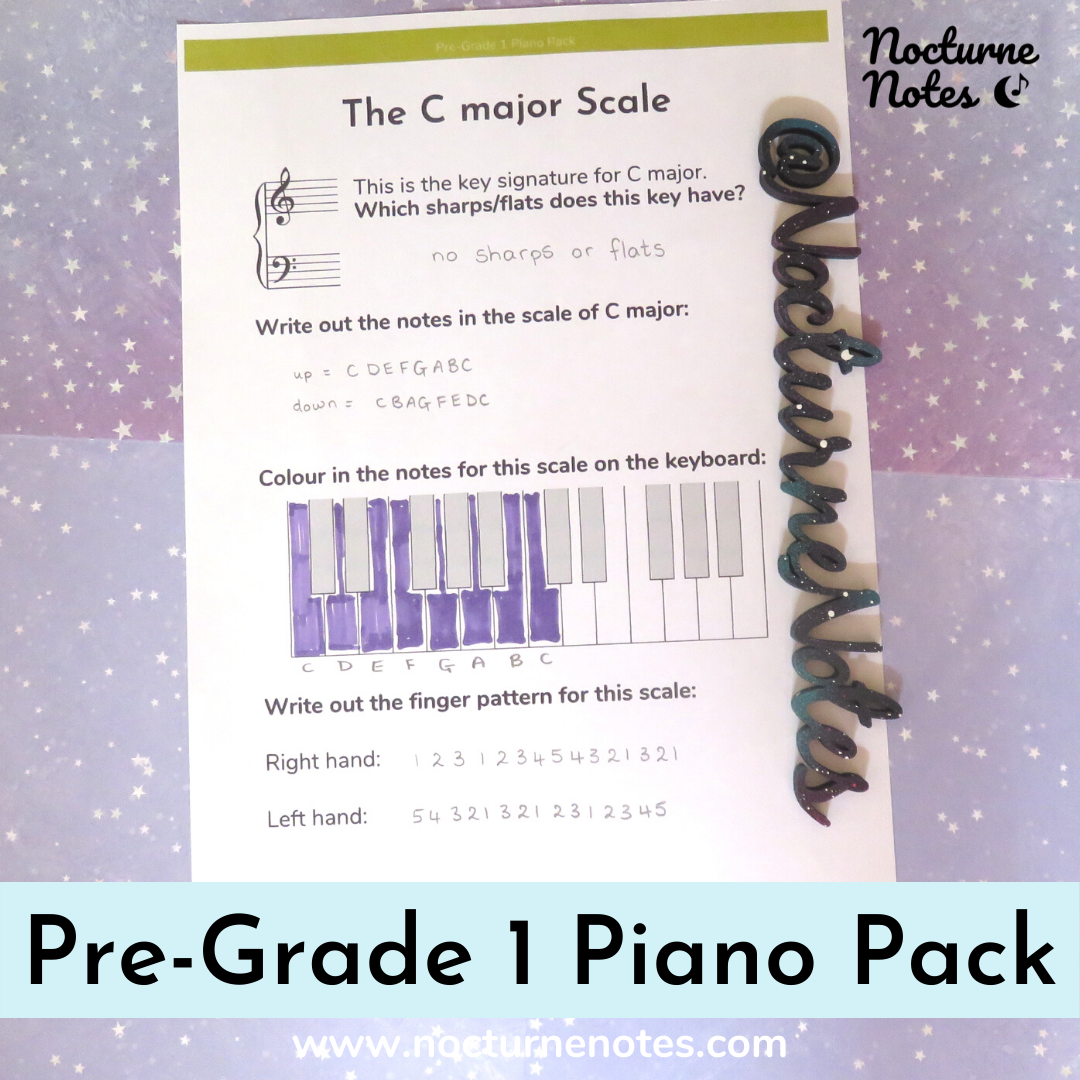 Scale sheet from the Pre-Grade 1 Piano Pack