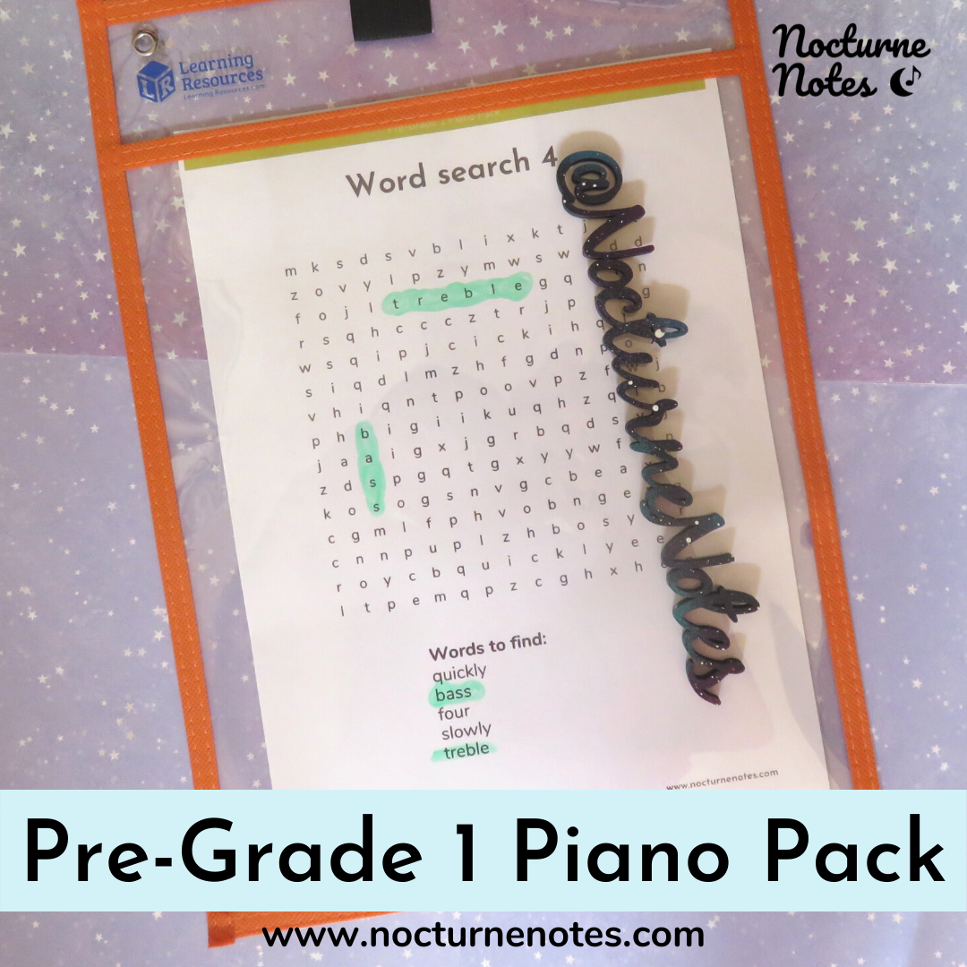 Word Search from the Pre-Grade 1 Piano Pack