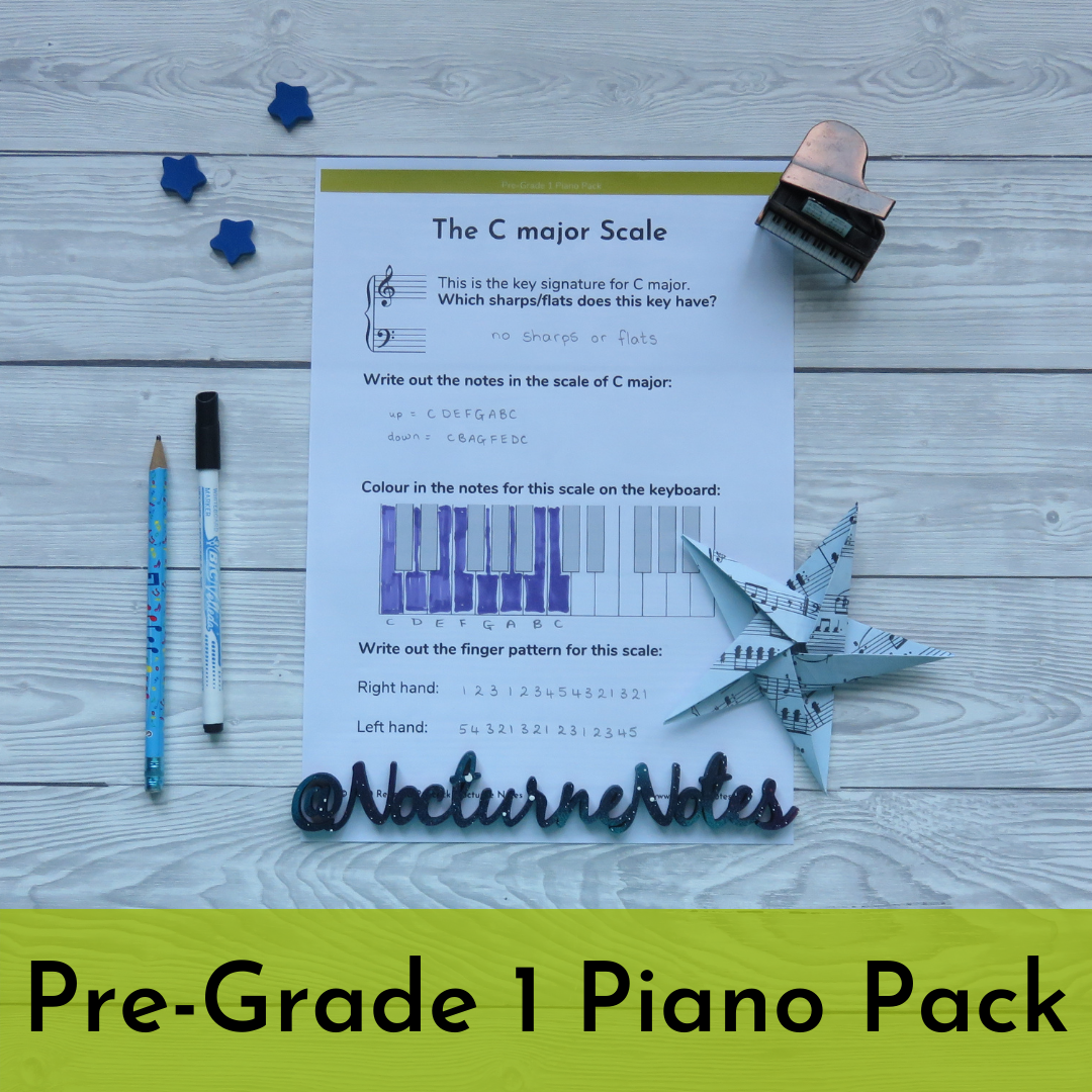 Pre-Grade 1 Piano Pack - Scale Worksheet