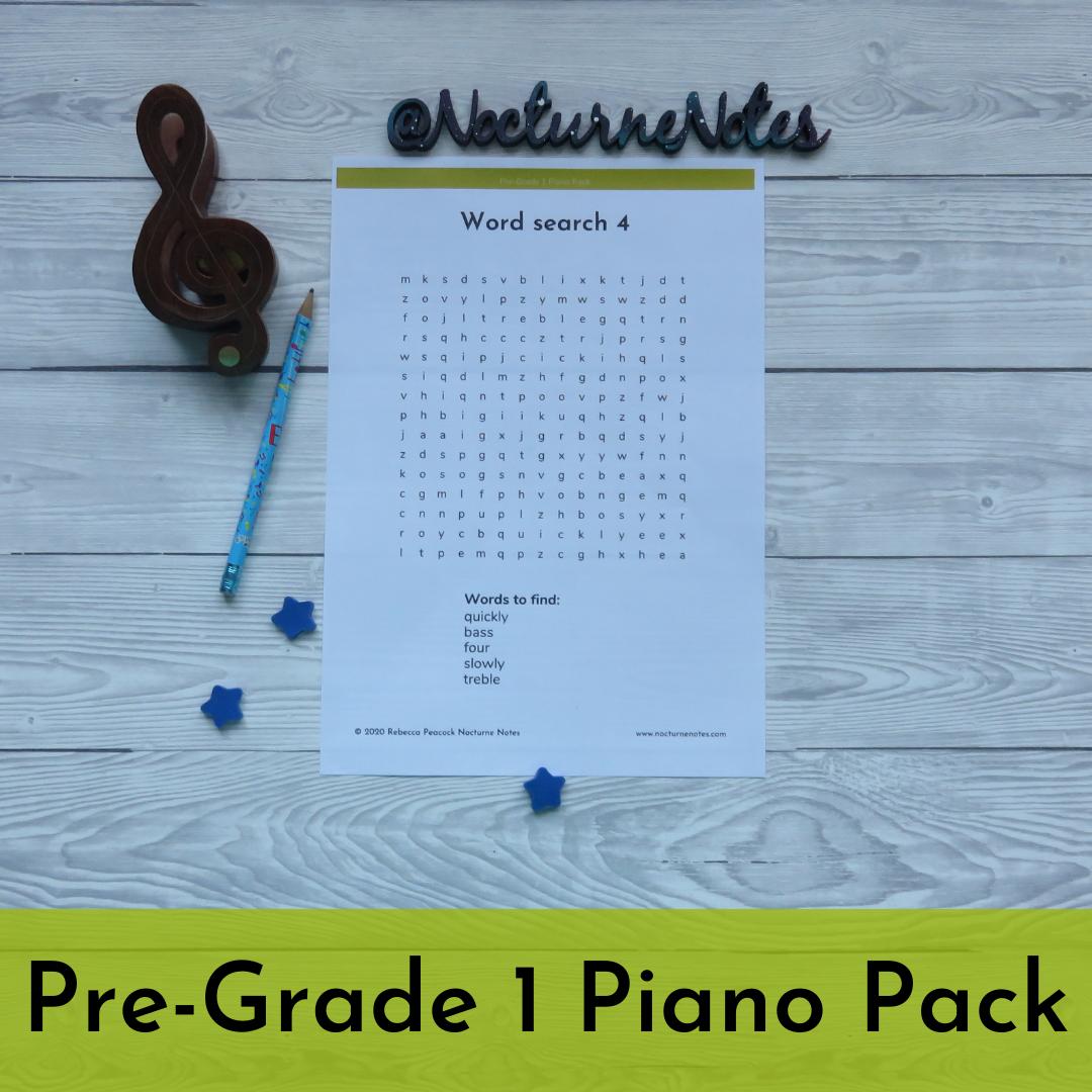 Pre-Grade 1 Piano Pack - Wordsearch