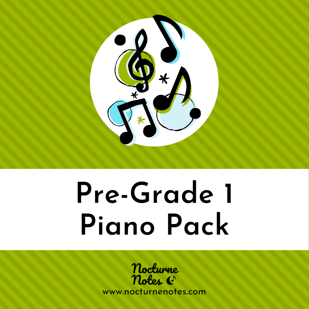 Green striped square with musical notes and text saying Pre-Grade 1 Piano Pack